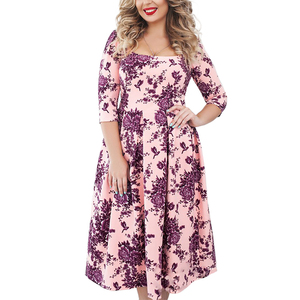 Wholesale Plus Size Half Sleeve Pink Blue Green Mid-Aged Women Mother Dress Floral Fat Women Dresses