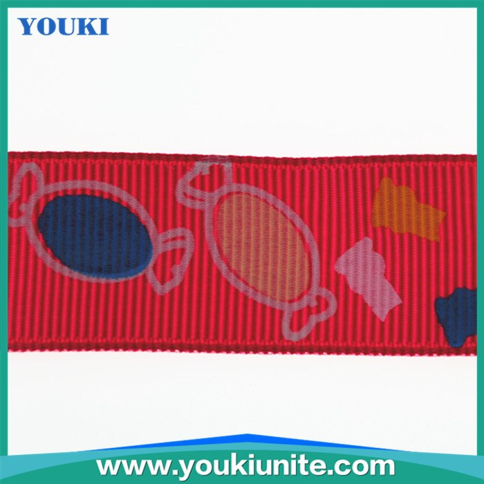 Fish picture printed grosgrain ribbon 100yard