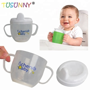 BPA free safety drinking bottle plastic training baby sippy cup with handle
