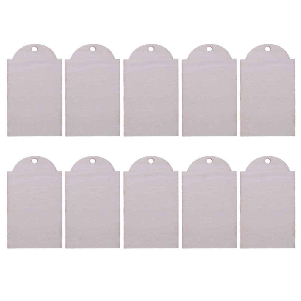 Mini Message Signs Chalkboards, WinnerEco 10pcs Laser Carve Wood Label Hanging Board Craft Festival Home Decor Gift(2