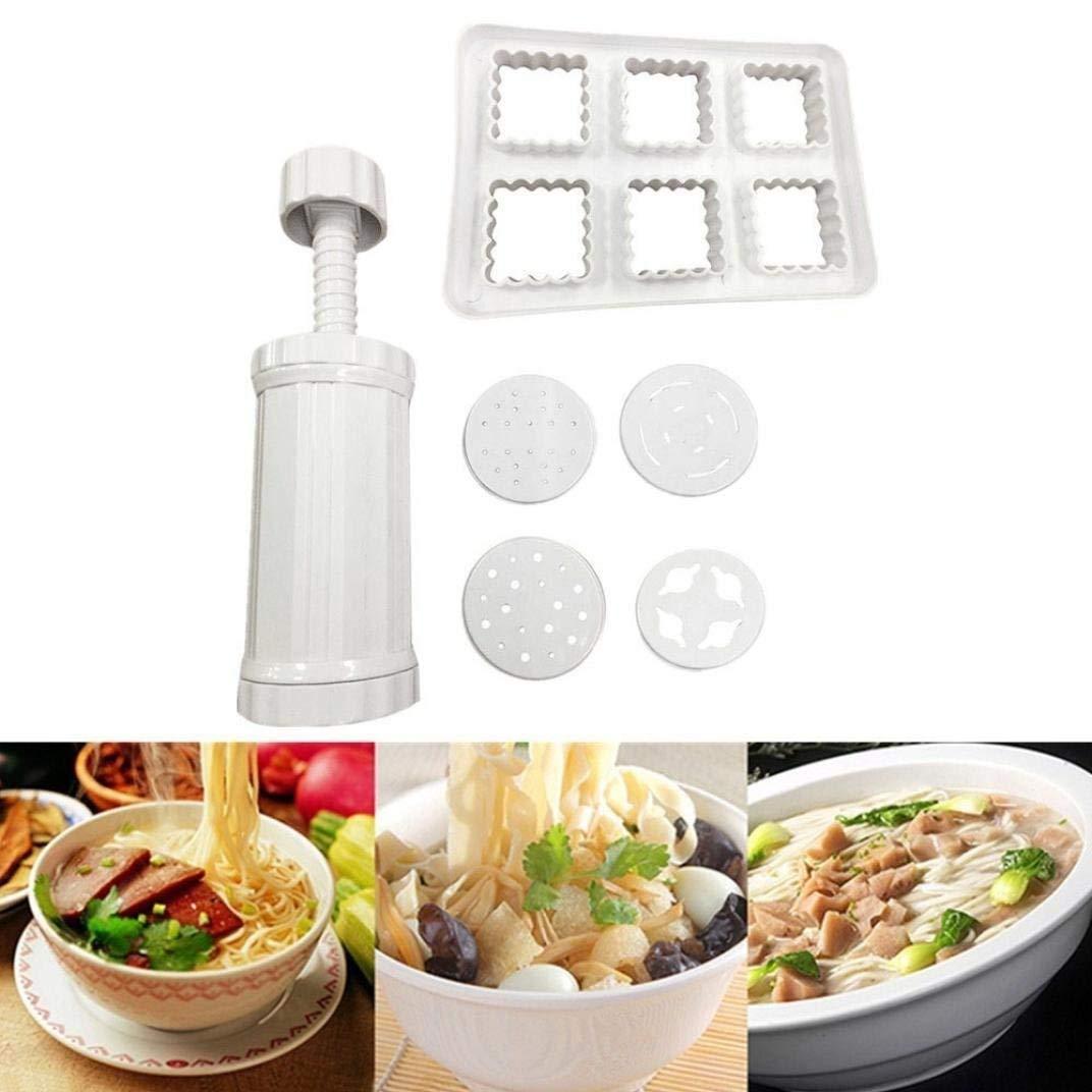 Pasta Maker Machine - Pasta Noodle Spaghetti Maker - DIY Noodles Maker Slicer - Manual Noodle Machine - Vegetable Spiralizer and Cutter - Kitchen Pasta Tool Juicer (white)