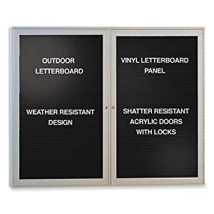 "2-Door Aluminum Frame Enclosed Letter Board Frame Finish: Satin, Surface Color: Black, Size: 36"" H x 48"" W x 2.25"" D"