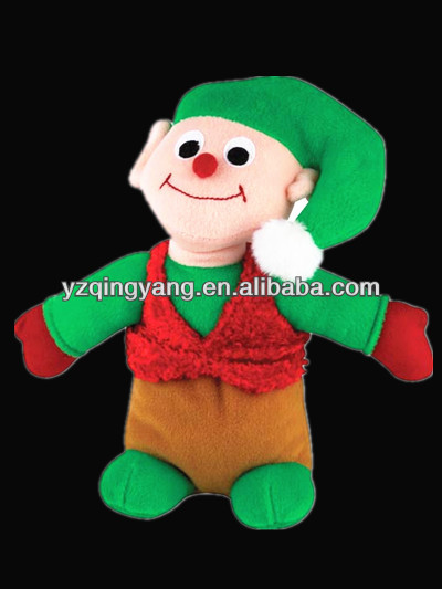Hot selling cute and cheap soft plush christmas elf children toy with santa hat