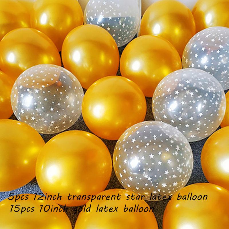 20pcs12-дюймовый чернильно-синий прозрачный латексный шар со звездой с днем рождения 2,2 г розовый белый Гелиевый шар принадлежности для украше...(Китай)