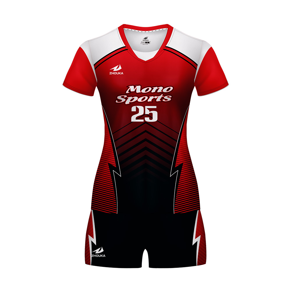 0a56ace4685 red sublimation volleyball jersey womens volleyball uniforms badminton and  volleyball combo set
