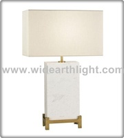 UL CUL Approved High Quality Antique Brass Modern Hotel Marble Table Lamp With Fabric Shade T60013