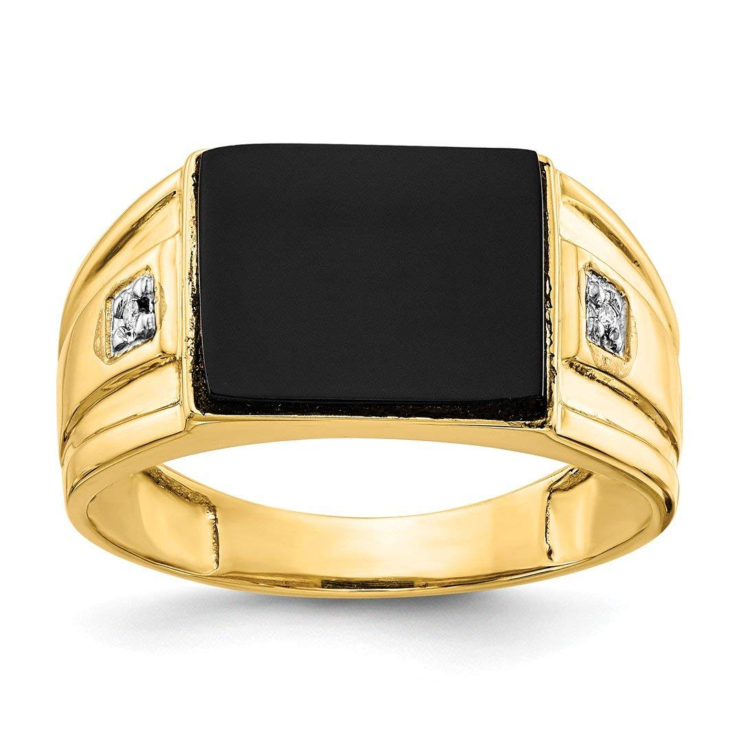 ICE CARATS 14kt Yellow Gold Mens Black Onyx Diamond Band Ring Man Fine Jewelry Dad Mens Gift Set