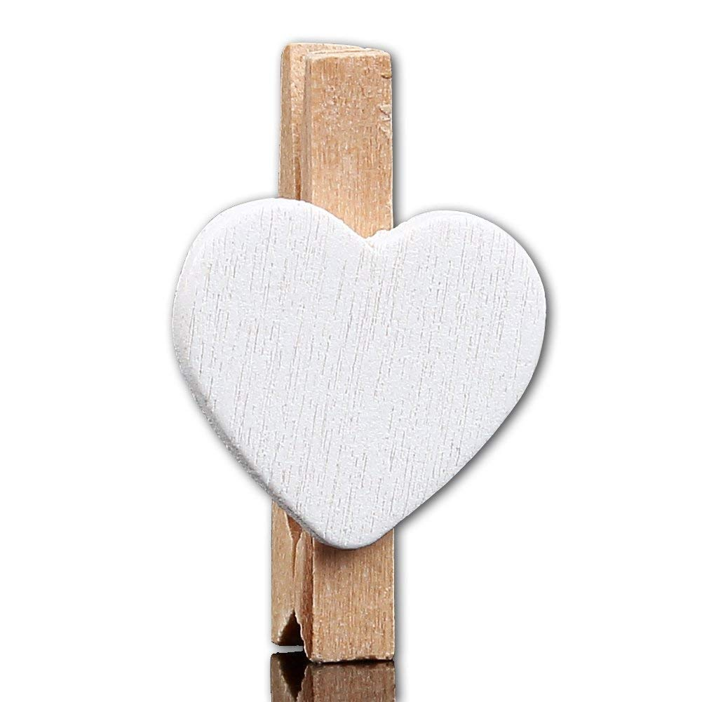 Candora 100Pcs Heart Shape Mini Wooden Photo Craft Clips Wood Pegs Clips Clothespins Kid Crafts Picture Holder for Wedding Party Favor Supply Party Favor Wall Deco DIY Paper Photo Frame (White)