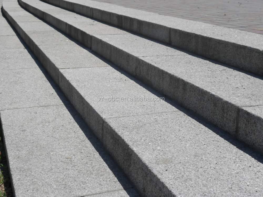 Cheaper Garden Outdoor Granite Steps , Flamed Granite Stair Tile