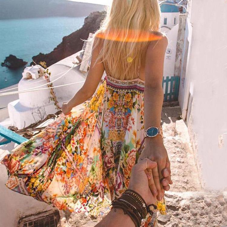 Férias venda quente mulher roupas roupas alcinhas solto agradável deslizamento praia chiffon bohemian maix vestido da cópia da flor