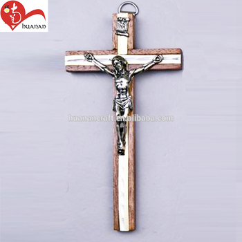 huanan electroplate handmade wooden jesus crucifix for wooden