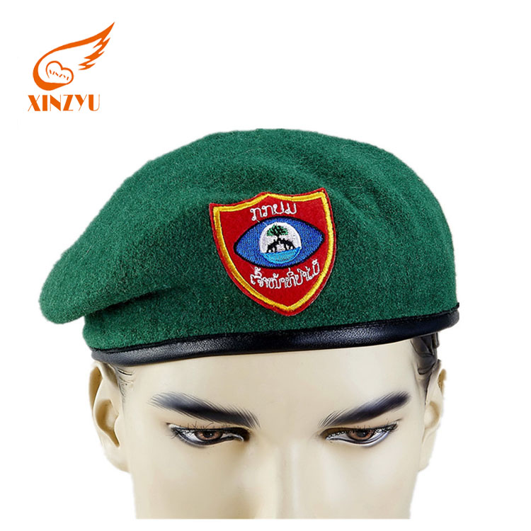 86448b81fda4e Colorful Cheap Military Green Beret Cap 100% Wool Army Beret With  Embroidered Logo
