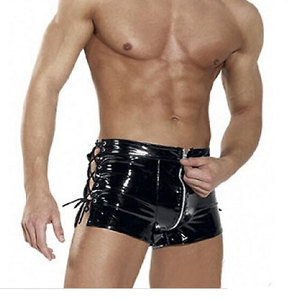 Sexy Black Faux Boxer Shorts Open Pants Leather Underwear Men