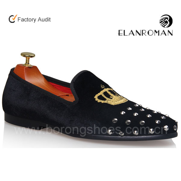 Men's Black Slippers velvet loafers with Crown embroidered and studded loafer shoes men