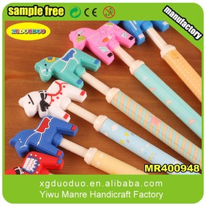 Promotional Pen with Horse Shaped Soft PVC Rubber Charms/Pen Topper/Cartoon Pencile Topper
