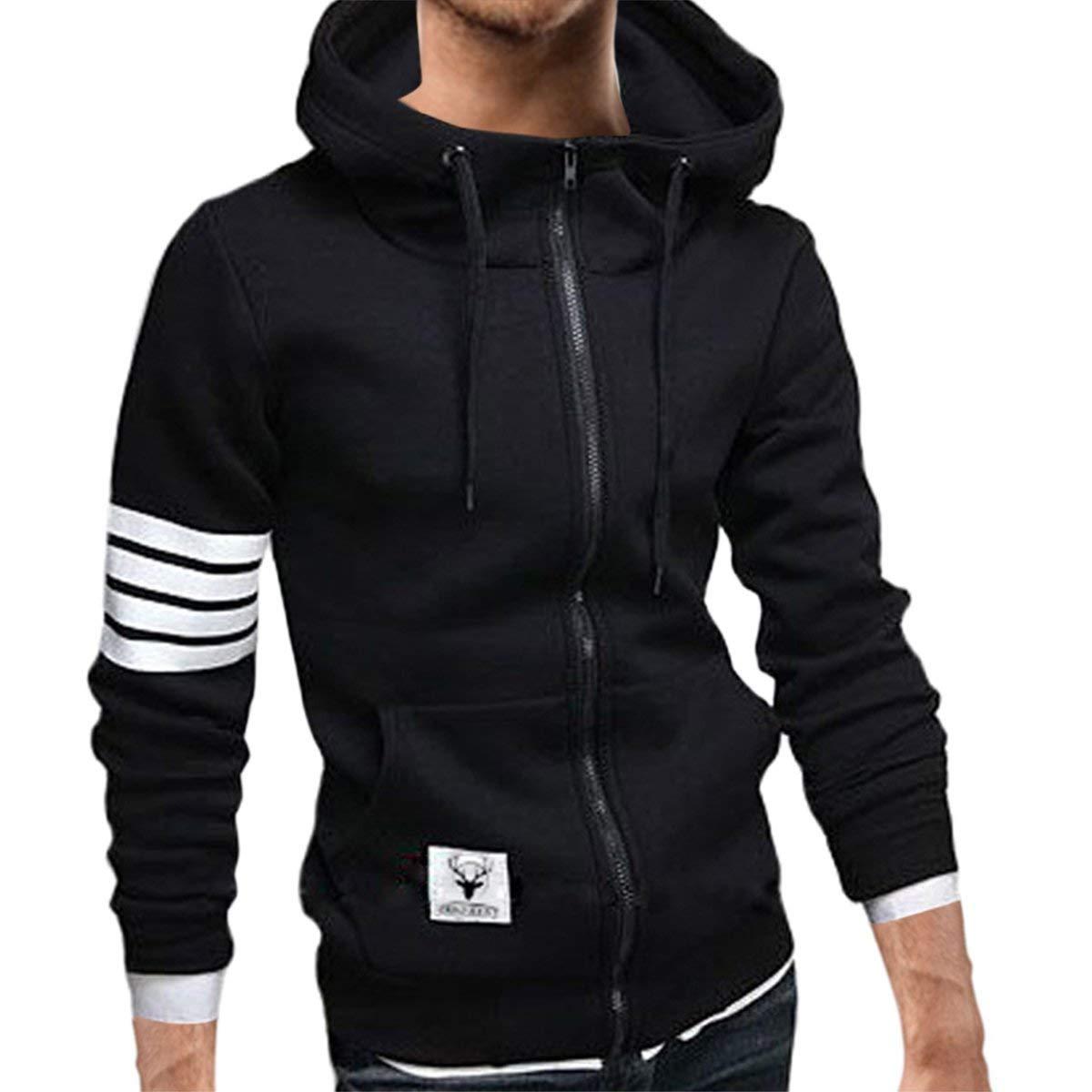 e23ab75cb Get Quotations · Pishon Men's Zip Up Hoodies Cotton Plain Lightweight Long  Sleeve Hoodie Sweatshirt