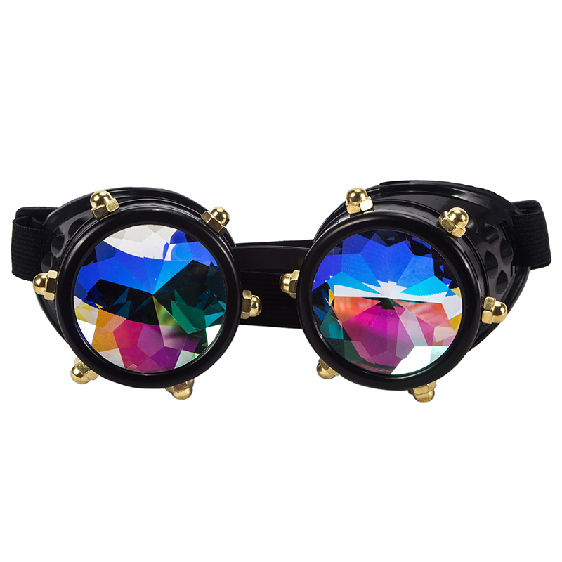 2018 Hotselling Vintage Style Colourful Lens Punk Glasses Kaleidoscope Rainbow Crystal Lenses Steampunk Goggles uv400 eyewear