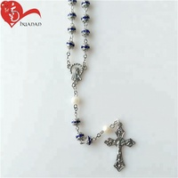 Beautiful Blue Color Rhinestone Beads Rosary Necklace