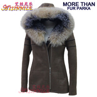 Women Hooded Faux Fur Lining Leather Parka Coat with Real Fox Fur Collar