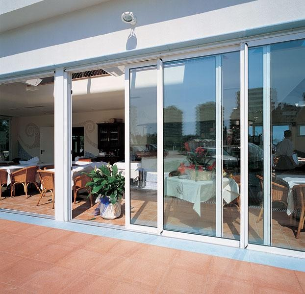 Modern house front door design double tempered glass for Exterior glass door designs for home