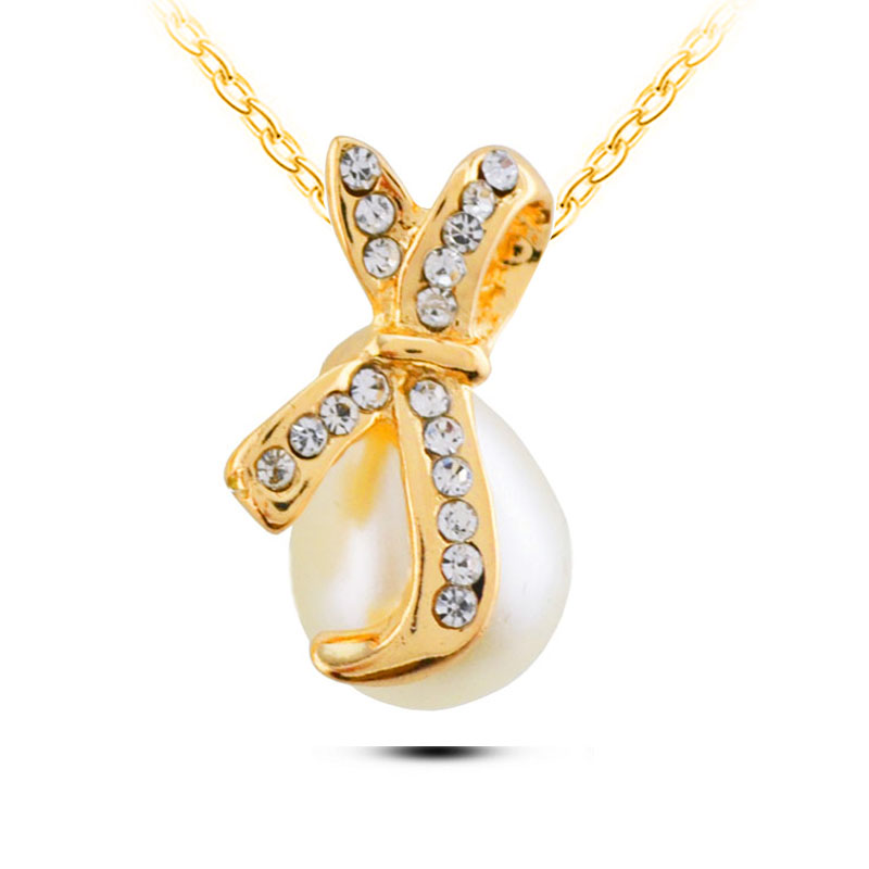 N243 Bowknot Pearl Necklace Dainty <strong>Silver</strong> And 18K Gold Necklaces For Women Allergy Free Ladies Accessories Wholesale China