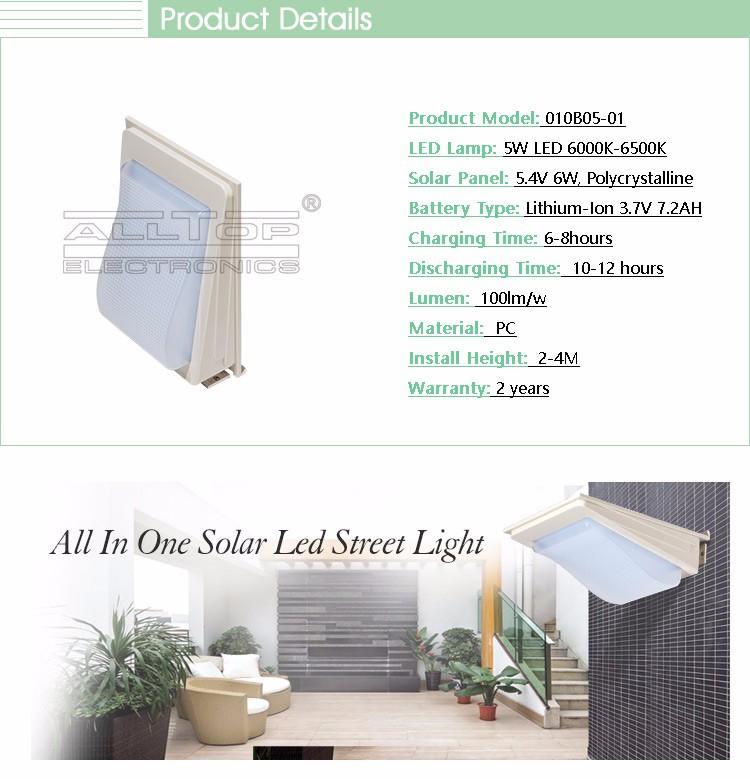 High quality outdoor waterproof sensor 2w 3w 4w 5w solar ip67 solar led wall light