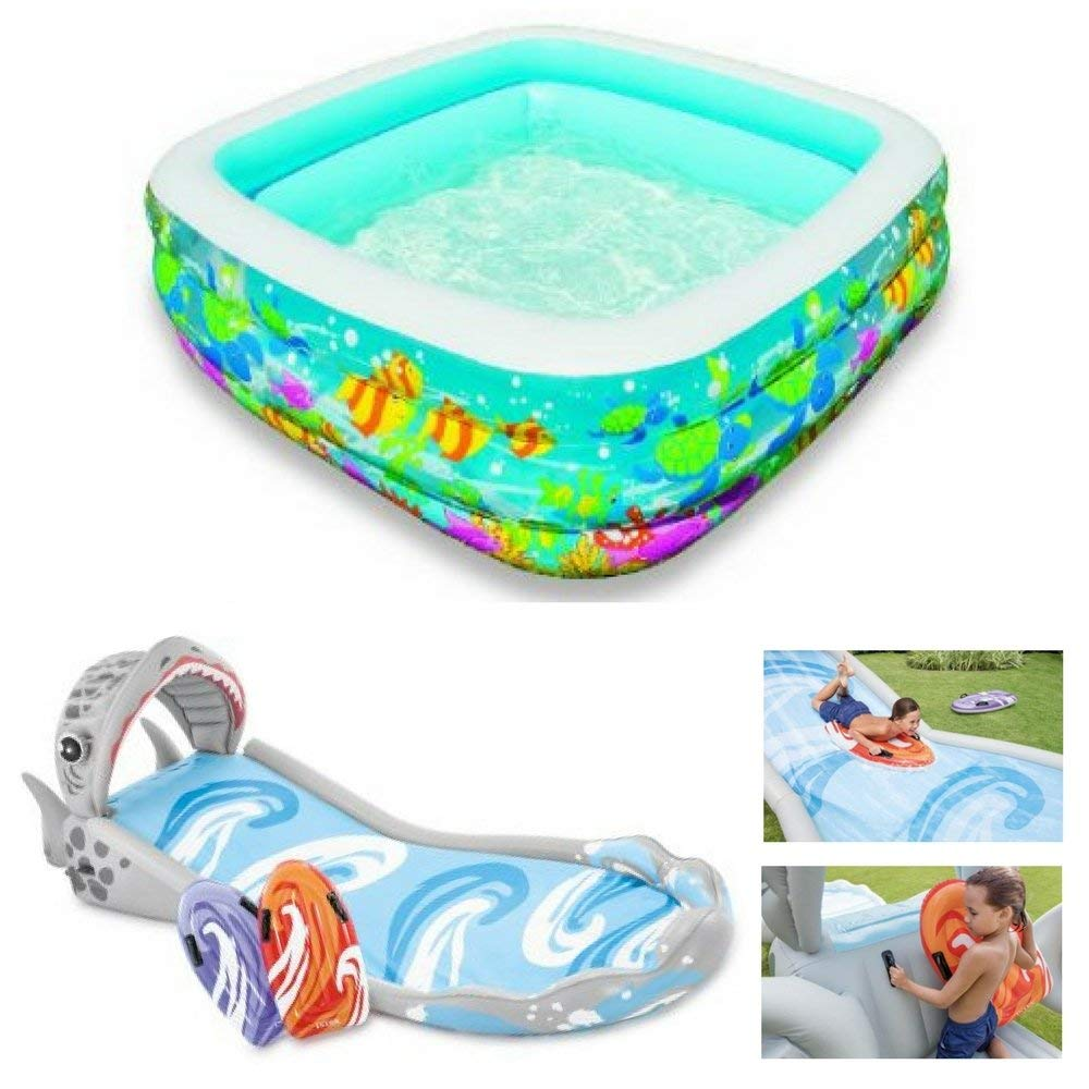 Fish Design Clearview Aquarium Pool & Surf 'N Slide With Two Surf Riders, Intex, Kids Inflatable Pools & Water Slides, Outdoor Play, Games, Social, Motor Skills, Active, Fun Pool Activity, Heavy Duty