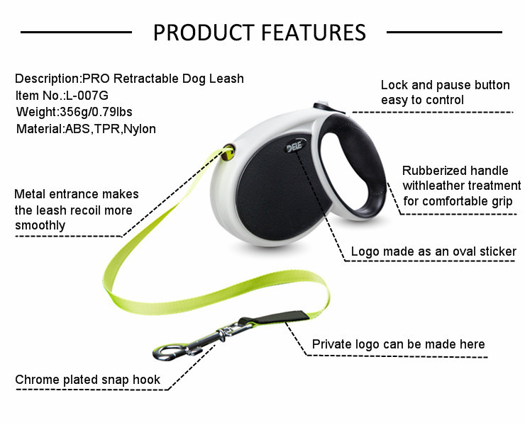 custom pet products pet accessories wholesale Retractable Dog Leash with reflective stripes and poop bag dispenser