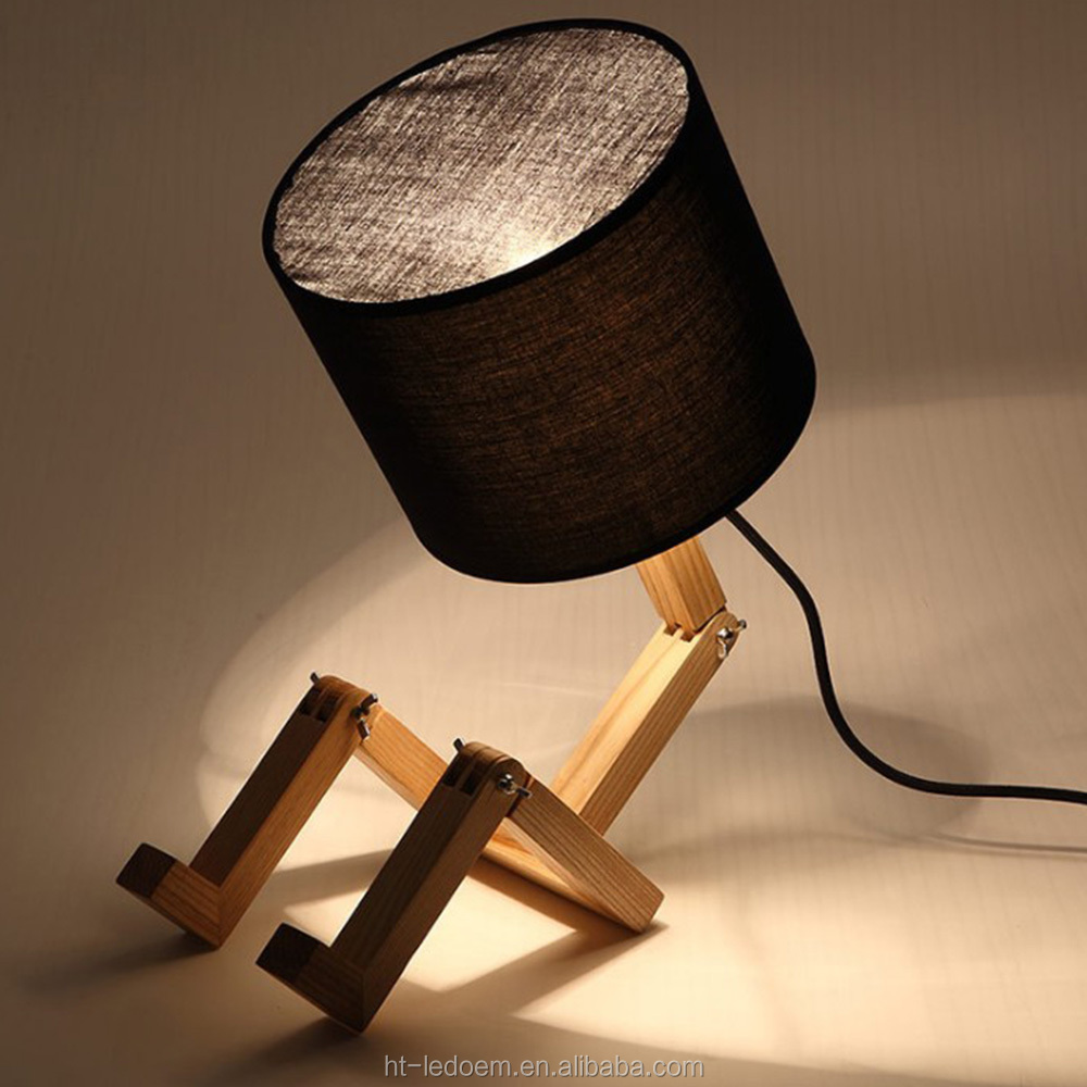 Modern Minimalist Wooden Robot Shaped Living Room Bedroom Bedside Lamp Table Lamp