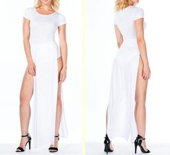 Women Plain White Cotton Maxi Dress With Side Slit - Buy Long White ... 1863b3972