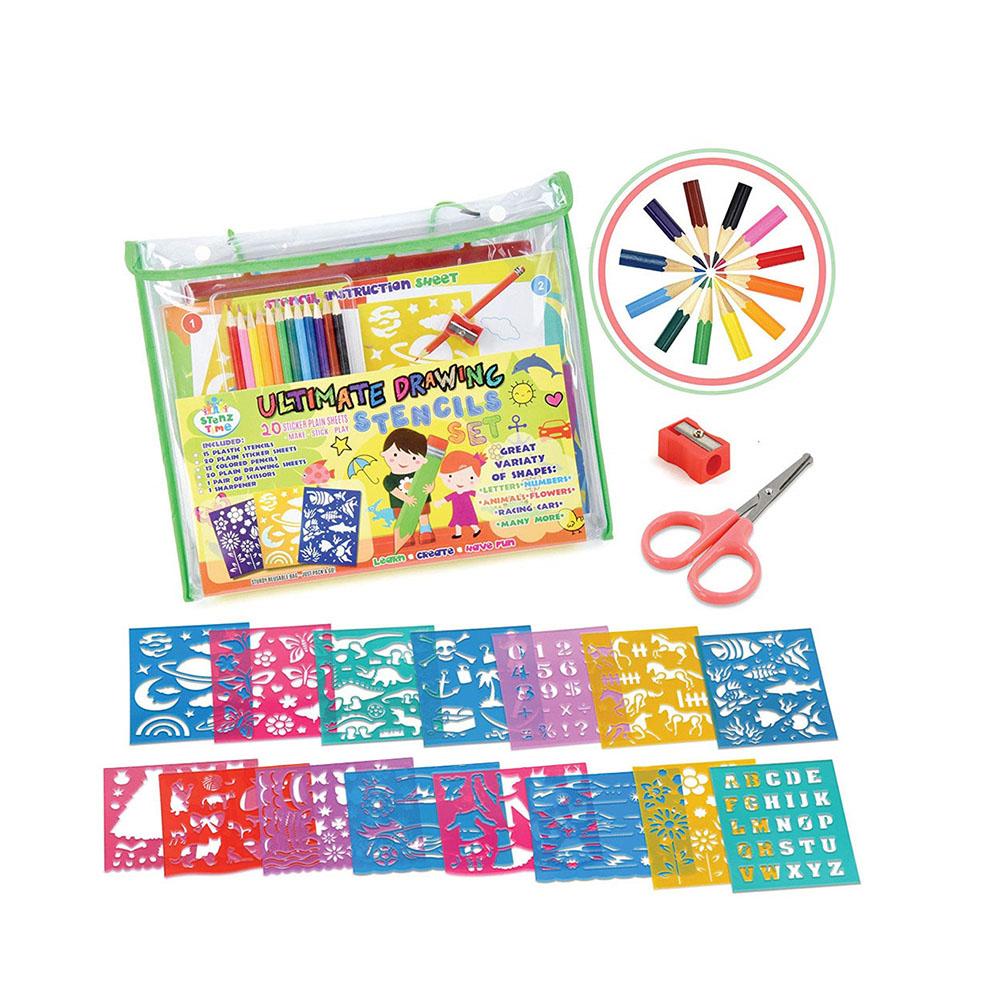 Custom Diy Bentuk Hewan Contoh Gambar Stensil Set untuk Anak-anak