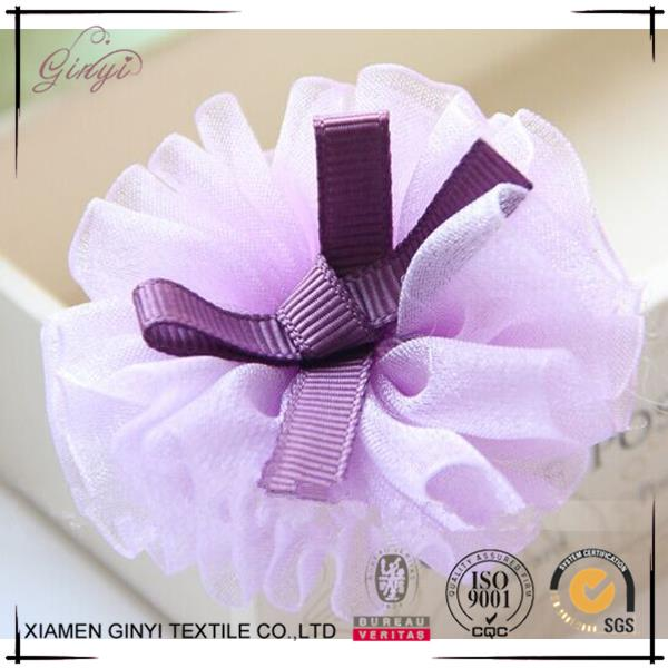 Fashion cheap polyester lovely flower model hair clips for baby