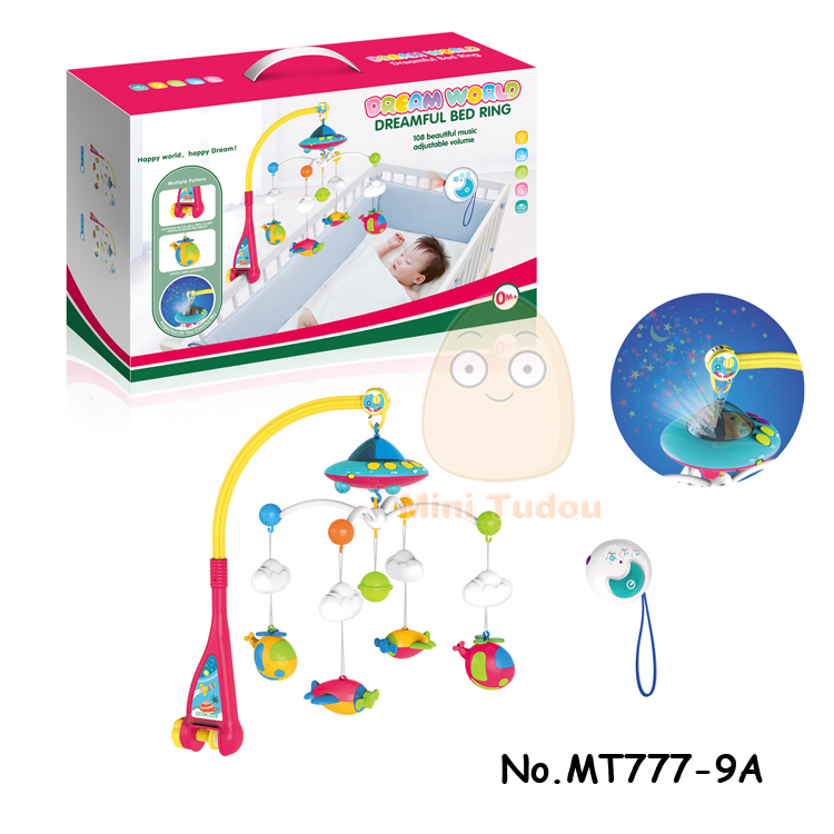 Baby Wind Up Toy Crib Mobile Newborn Bed Bell Ring With Animal Rattles Projection Cartoon Early Learning Kids Toy