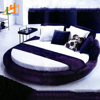 factory custom good quality super king size modern luxury round genuine leather king size home bed