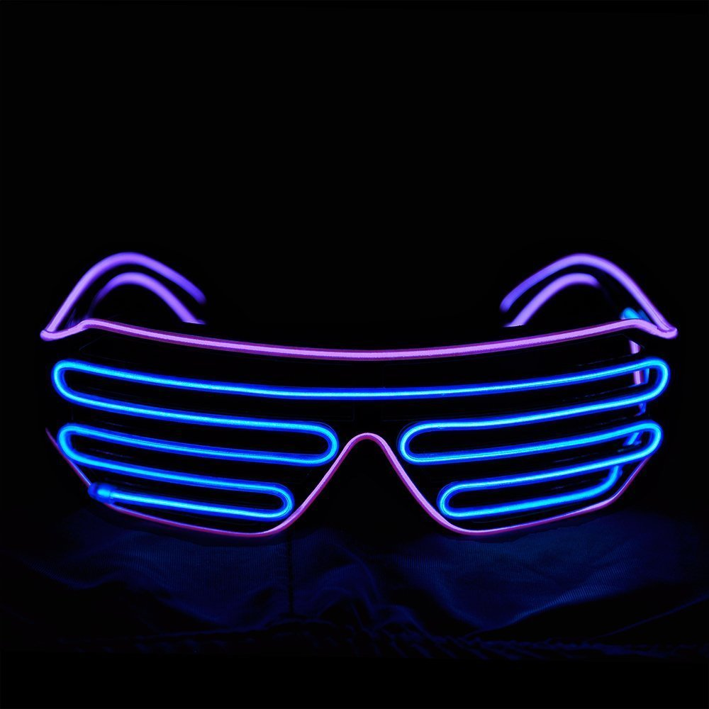 ccaacb7f8ebb Get Quotations · EL Wire Light Up Glasses NHsunray LED Sound Activated  Glowing Eye glasses for Halloween Bar Glowing