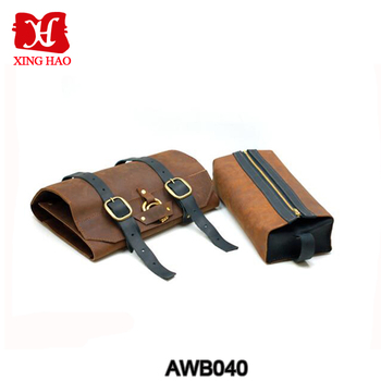 Hanging Leather Shaving Toiletry Roll Case Men Leather Travel Wash ... a32e583a7182d