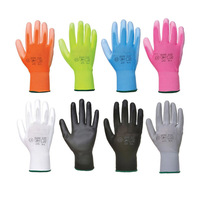 En388 4131 White Black Guantes de Trabajo Palm Coated Nylon PU Gloves Polyurethane Palm Fit Safety Gloves Work Gloves