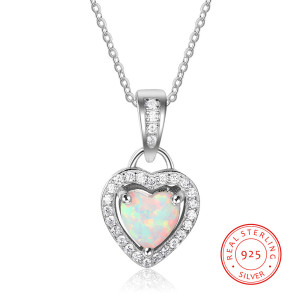 Attractive Fine S925 Sterling Silver Heart Opal Zircon Cz Necklace For Mom Her Yourself Birthday Gift