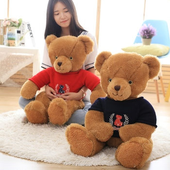 Personalized cute custom LOGO plush brown sublimation teddy bear t shirt wholesale soft toy stuffed plush bear