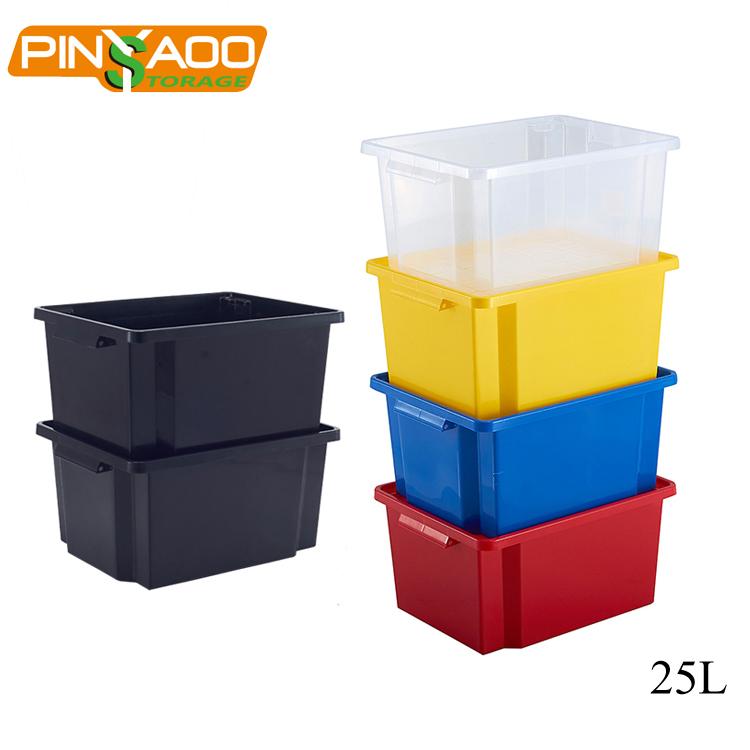25L व्यापक रूप से इस्तेमाल किया उत्कृष्ट आयत इस्तेमाल किया बिक्री के लिए भारी शुल्क प्लास्टिक भंडारण बक्से बॉक्स