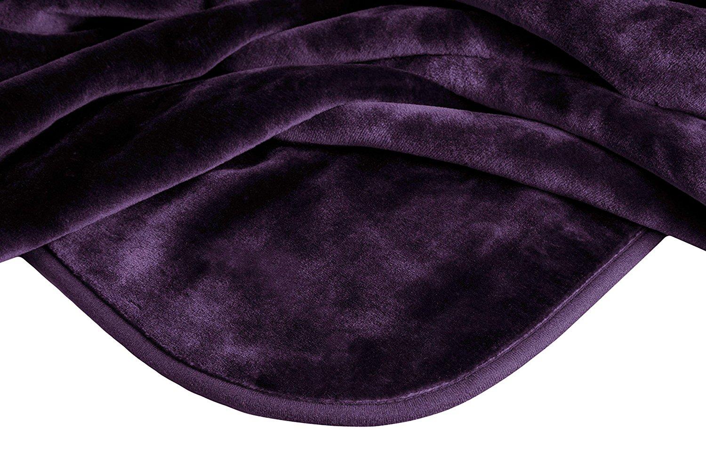 """Solaron Queen Size 78"""" x 94"""" Solid Korean Mink Blanket Purple"""