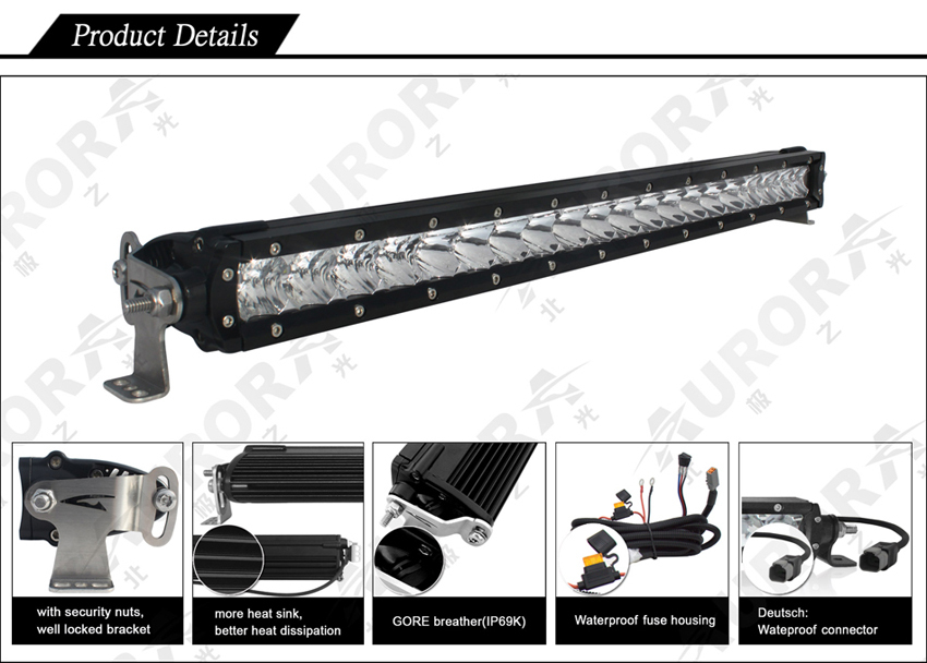 "E-mark Approved Aurora 40"" Single Row Light Bar Off Road Led ..."