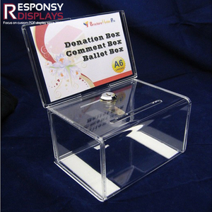 Countertop clear acrylic donation comment ballot box with lock