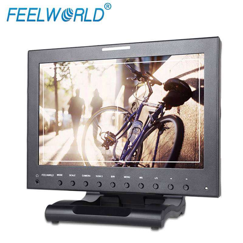 1280*800 pixels Picture in Picture 12 inch hdmi monitor 3G SDI with Tally Indicator V-mount battery plate Foldable bracket