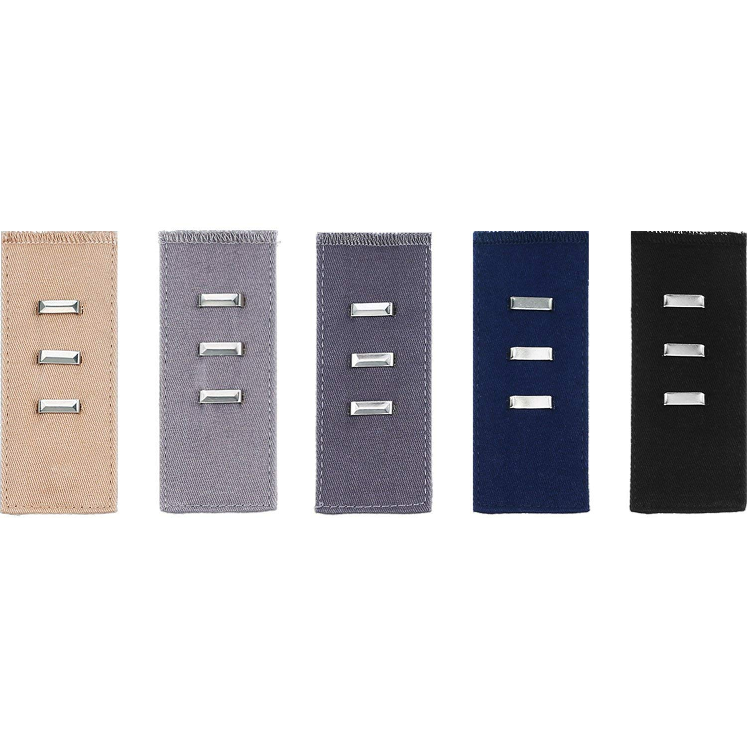 Mtlee 5 Pieces Pants Waist Extender with Metal Hook Waist Band Extender Set for Pants, Jeans, Trousers and Skirt, 5 Colors