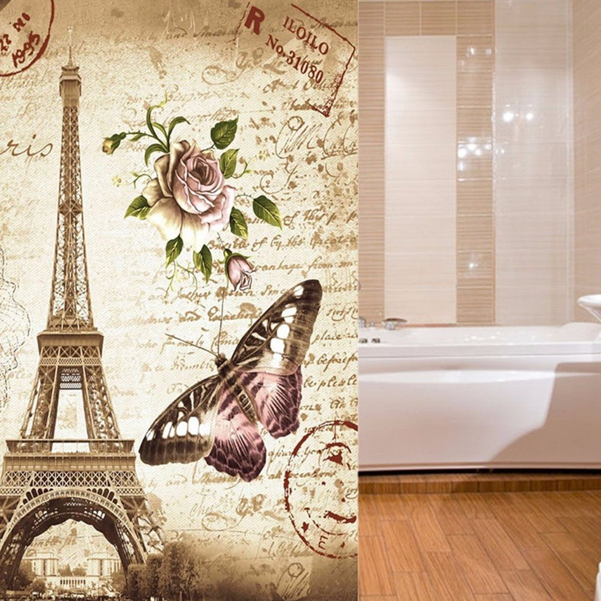 Mildew Resistant Fabric Shower Curtain Tezoo Home Deco Accessories Retro Paris Eiffel Tower Butterfly