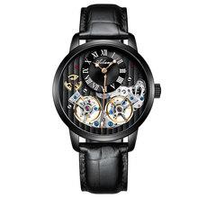 Топ люксовый бренд дорогие мужские часы автоматические механические качественные часы римские двойные турбийоны швейцарские часы кожаные...(Китай)