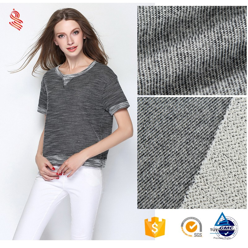 wholesale 100% cotton coarse needle terry woven sweater fabric