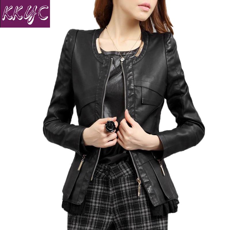 Кожа куртка женщины весна и осень женщины пальто с круглым вырезом полиуретан кожа куртки короткая пальто приталенный дизайн m-3xl 4xl 15