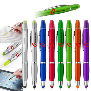 3 in 1 twist capacitive stylus ball pen and wax highlighter